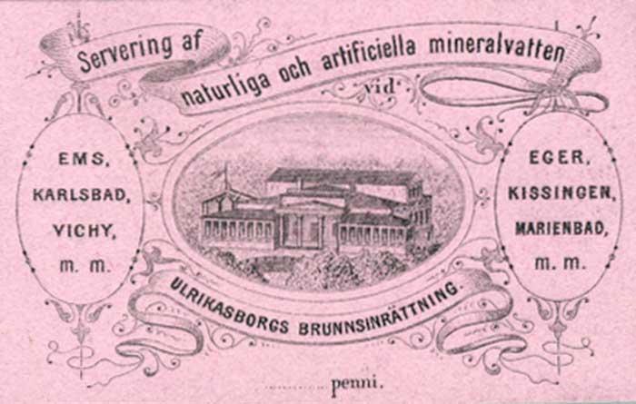 Ullanlinnan Kaivohuoneen juomalipuke 1840-luvulta.