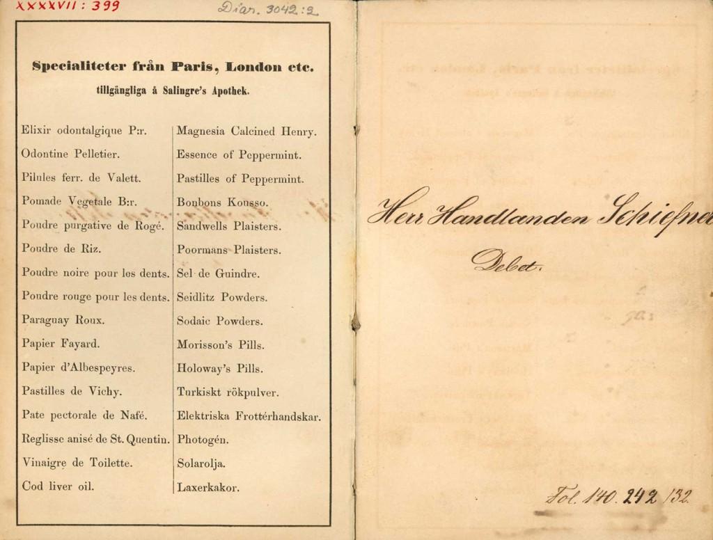 Kauppias Schiefnerin vastakirja Salingren apteekkiin vuodelta 1860.