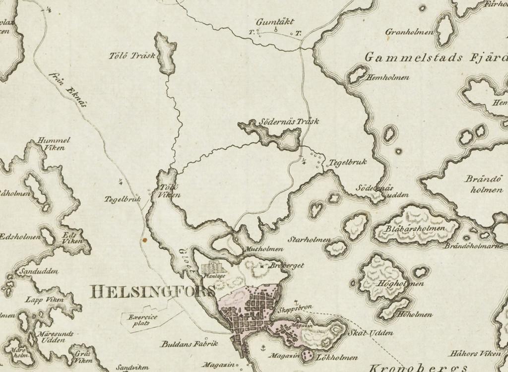 Rajaus kartasta vuodelta 1808.