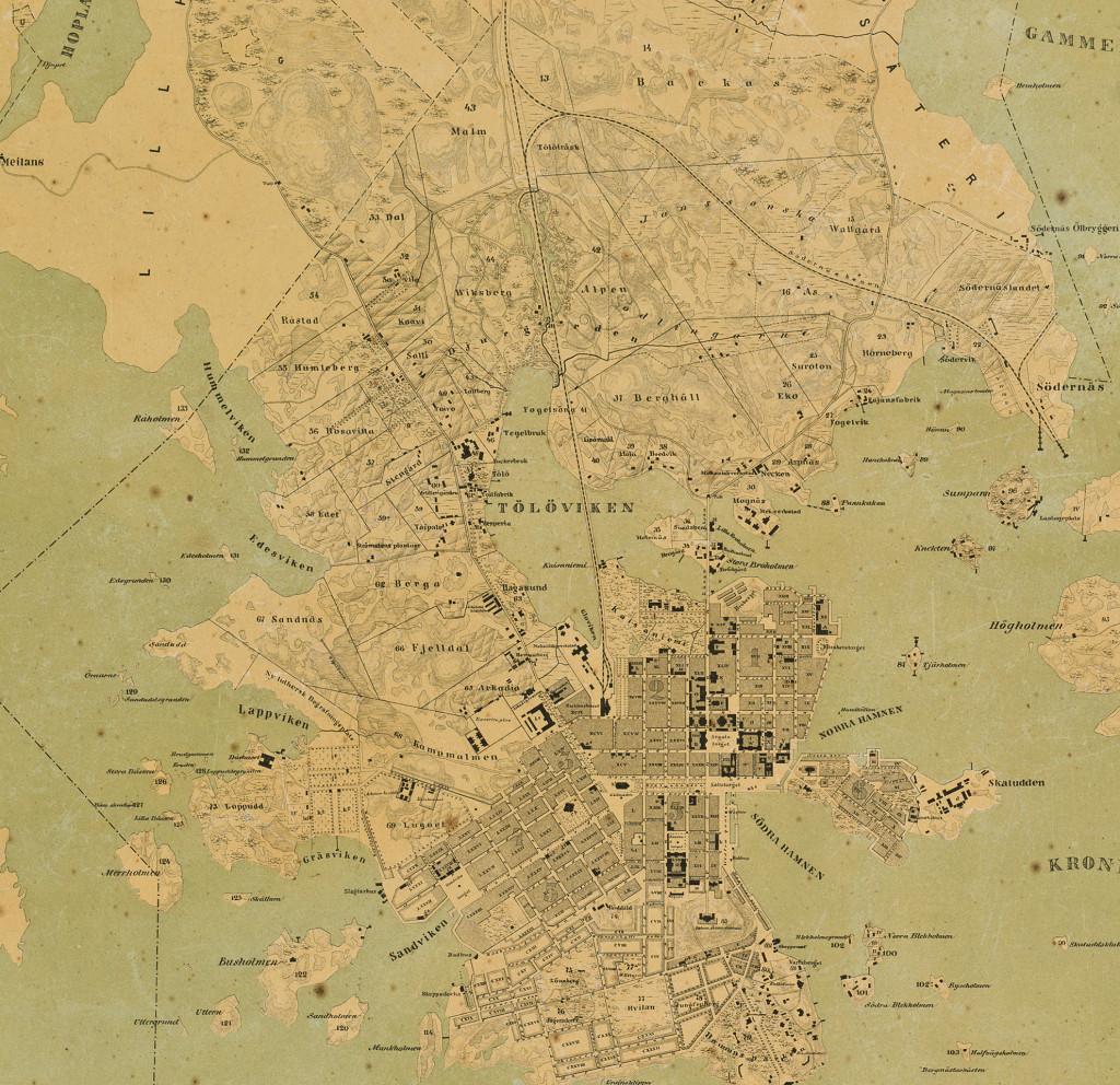 """Rajaus kartasta vuodelta 1869. Kartalla näkyy vastavalmistunut rautatie joka Pasilan kohdalla kulkee niityn läpi. Muistumana Töölönjärvestä niityn kohdalle on kirjattu """"Tölöträsk""""."""