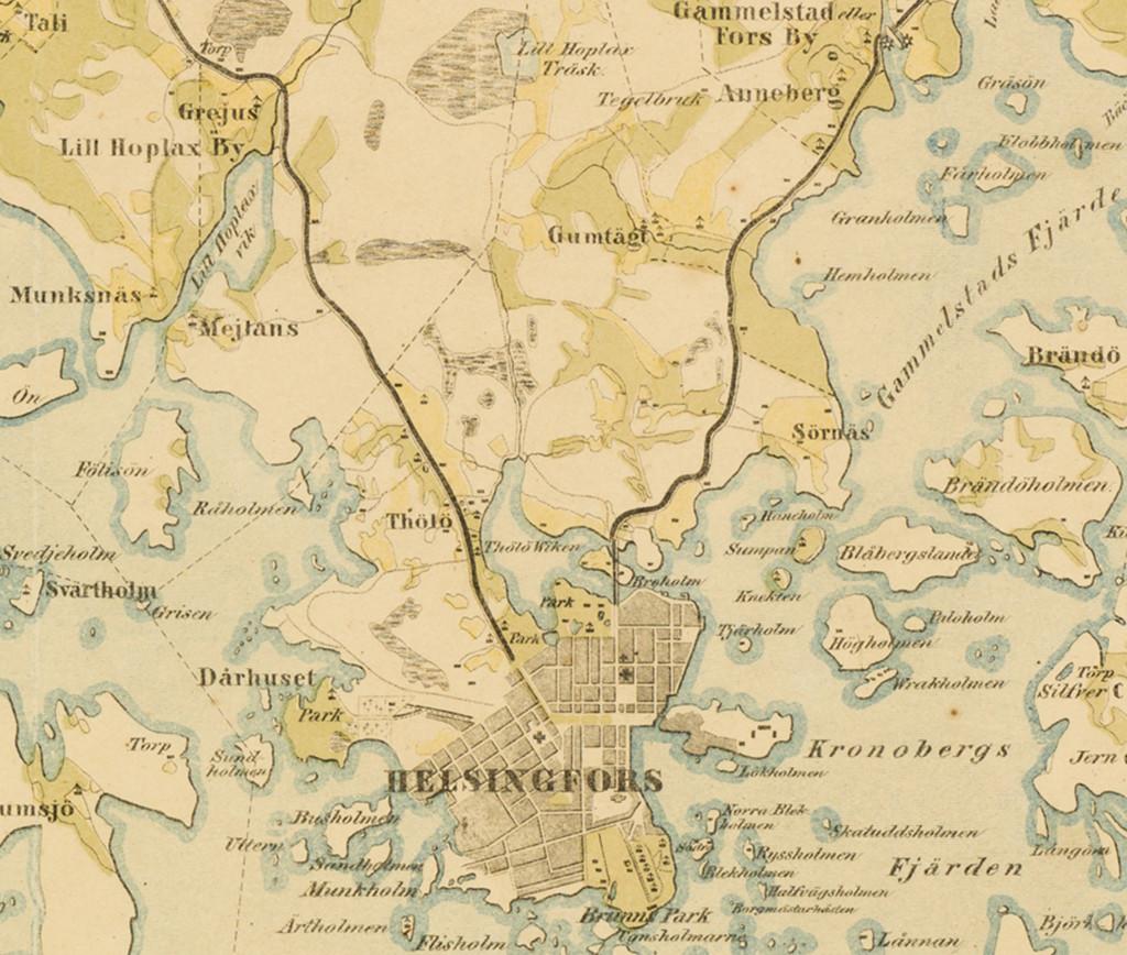 Rajaus kartasta vuodelta 1845. Vuoden 1845 kartalla Töölönjärveä ei enää näy. Järven paikkeilla on vihreällä kuvattua niittyä. Alueelta kulkee lasku-uoma Alppipuiston paikkeilla olevan soisen alueen läpi Töölönlahden pohjoispäähän. Karttaan on kuvattuna keltaisella pellot, vihreällä niityt ja tummalla vaakahapsulla suot.