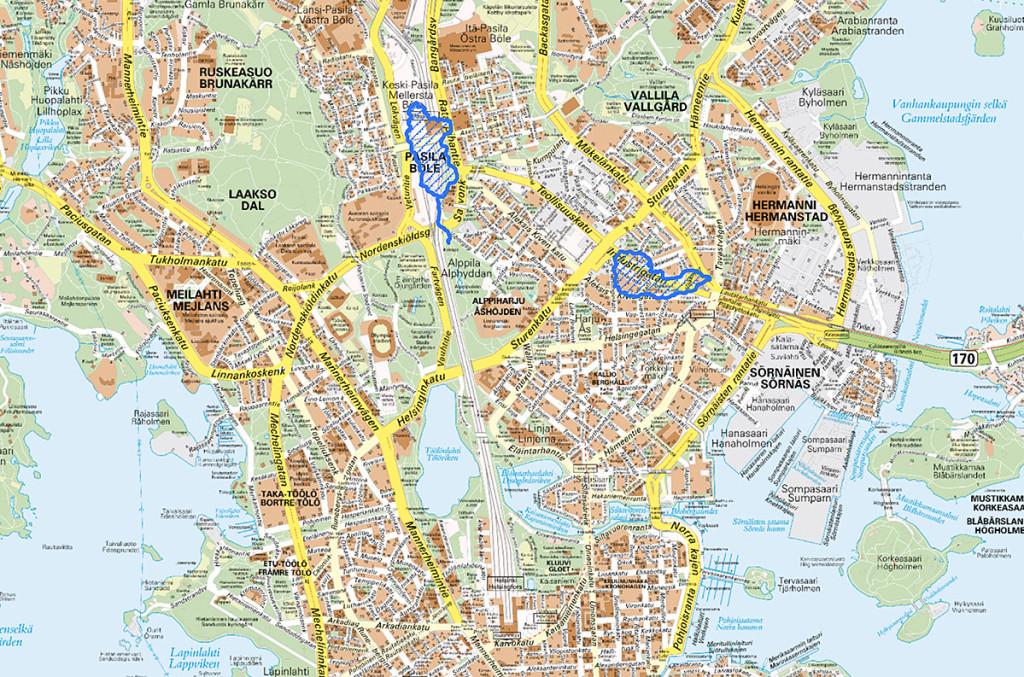 Sinisellä on rajattu alueet, missä Töölön järvi ja Sörnäisten järvi likimain sijaitsevat nykykartalla. (Edit: Sörnäistenjärven paikkaa on korjattu.)